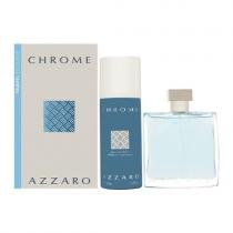 AZZARO CHROME 2 PCS SET FOR MEN: 3.4 EAU DE TOILETTE SPRAY + 5 OZ DEODORANT SPRAY