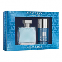AZZARO CHROME 2 PCS SET: 1.7 EAU DE TOILETTE SPRAY + 2.7 OZ DEODORANT STICK