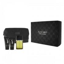 AZZARO 4 PCS SET FOR MEN: 3.4 EDT SP + 1.7 SHOWER GEL + 1 OZ AFTERSHAVE BALM + DESIGNER DOPP KIT