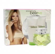 BRITNEY SPEARS BELIEVE 3 PCS SET: 3.3 EAU DE PARFUM SPRAY + 3.3 OZ BODY SOUFFLE + 3.3 OZ SHOWER GEL