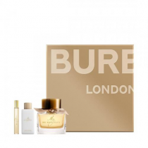 BURBERRY MY BURBERRY 3 PCS SET: 3 OZ EAU DE PARFUM SPRAY + 2.5 BODY LOTION + 0.25 OZ EAU DE PARFUM SPRAY (HARD BOX)