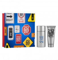 212 2 PCS SET FOR MEN: 3.4 EAU DE TOILETTE SPRAY + 3.4 AFTER SHAVE GEL (HARD BOX)