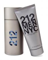 212 2 PCS SET FOR MEN: 3.4 EAU DE TOILETTE SPRAY + 3.4 ALL OVER SHOWER GEL (METAL BOX)