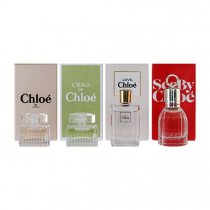 CHLOE 4 PCS MINI COLLECTION SET FOR WOMEN: CHLOE SIGNATURE 5 ML EDP + L'EAU DE CHLOE 5 ML EDT + LOVE, CHLOE EAU FLORALE 5ML EDT + SEE BY CHLOE 7.5 ML EDP