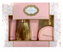 CHANTILLY 5 PC SET FOR WOMEN: 3 OZ EDT SP + 2.5 BODY LOTION + 2.5 BODY WASH + 1.75 OZ DUSTING POWDER + REFILLABLE PURSE SP