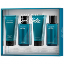 COOLWATER 4 PCS SET FOR MEN: 2.5 EAU DE TOILETTE SPRAY + 2.5 AFTER SHAVE (GLASS) + 2.5 ALL-IN-ONE SHOWER GEL + 2.5 AFTER SHAVE BALM (WINDOW BOX)