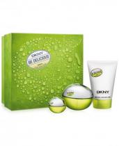 DKNY BE DELICIOUS 3 PCS SET: 3.4 EDP SP + 0.24 OZ EDP + 3.4 BODY LOTION