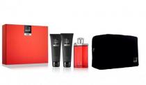 DUNHILL DESIRE RED 4 PCS SET: 3.4 EDT SP + 3 OZ SHOWER GEL + 3 OZ AFTER SHAVE BALM + BAG