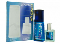 JOVAN HEAT 2 PCS SET FOR MEN: 8.4 COLOGNE BODY SP + 2 OZ AFTERSHAVE SPLASH
