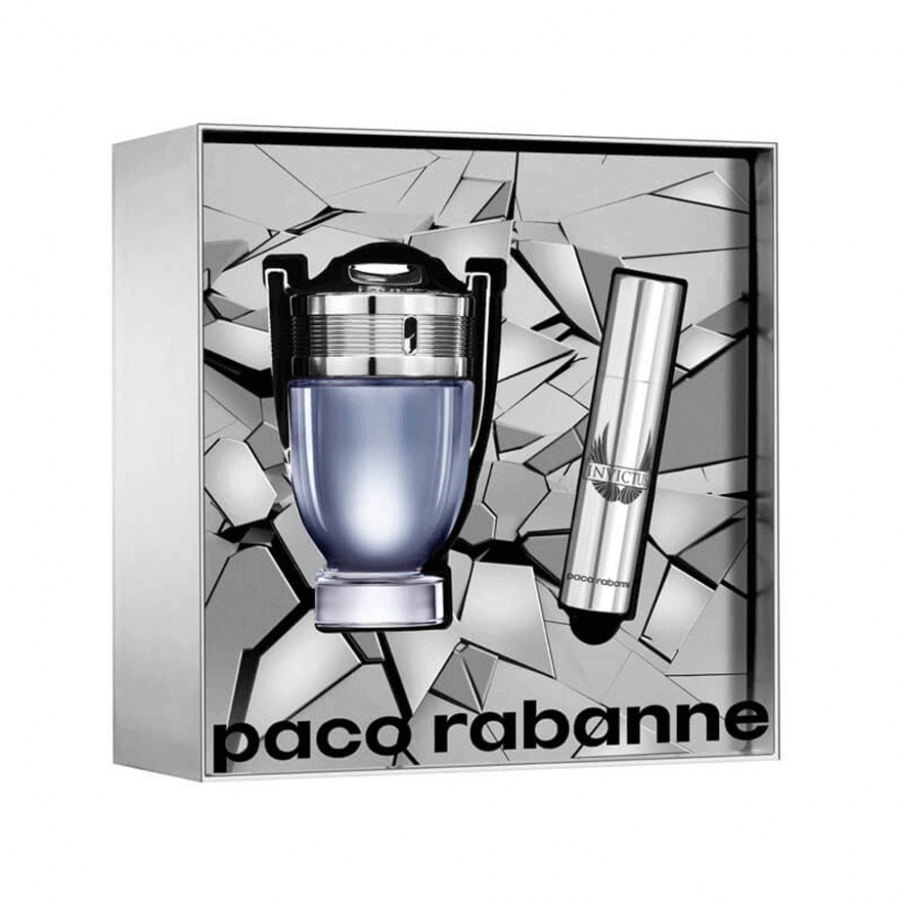 PACO RABANNE INVICTUS 2 PCS SET FOR MEN: 1.7 EAU DE TOILETTE SPRAY + 0.33 OZ EAU DE TOILETTE