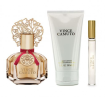 VINCE CAMUTO 3 PCS SET FOR WOMEN: 3.4 EDP SP + 0.2 OZ EDP ROLLERBALL + 5 OZ BODY LOTION